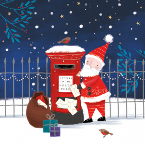 A photo of a Christmas Card 2020. The photo includes a drawing of a Santa Clause at a red mailbox. He is taking letters from the box and has a brown sack near him with cards and presents near it. In the background is a wire fence and a snow covered ground. It is snowing and a bird sits nearby on the ground.