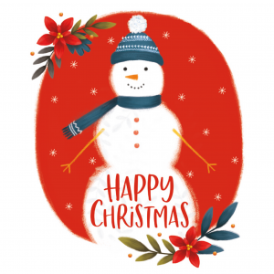 A Christmas Card featuring a snowman wearing a blue hat and a blue scarf. It is featured on top of a read circle and there are two poinsettias on the top right corner and bottom left corner of the red circle.