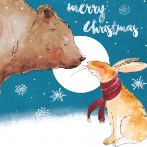 A drawing of a bear touching it's nose with a bunny rabbit. The bear is brown and the rabbit is a light brown and is wearing a red scarf. In the blue background, it is snowing and the moon is shinning. Above the moon states 'Merry Christmas'