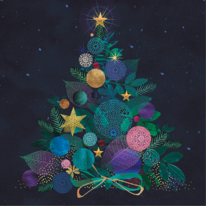 A photo of one of Big C's Christmas Card 2020. The photo features a drawing of a Christmas tree covered in decorations of different sizes and colours. On top of the tree is a golden star. The background is dark and features lights.