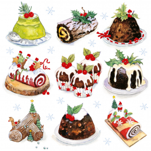 A photo of a Big C Christmas Card 2020. The photo features a drawing of various Christmas-themed puddings and desserts.