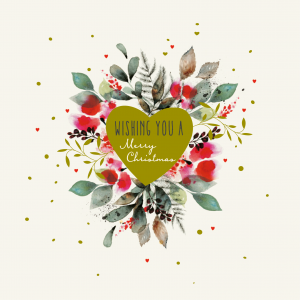 A photo of a Big C Christmas Card 2020. The photo features a drawing of a green heart with the words 'Wishing you a Merry Christmas' written inside it. Surrounding the heart are flowers and leafs of different colours and shapes. The is on a white background and there are tiny read hearts and green dots surrounding the heart.