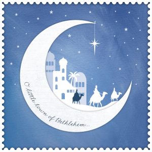 A photo of a Big C Christmas Card 2020. The photo includes a drawing of a half moon. Inside the moon is an outlined drawing of the City of Bethlehem. Written on the moon are the words 'O little town of Bethlehem.'